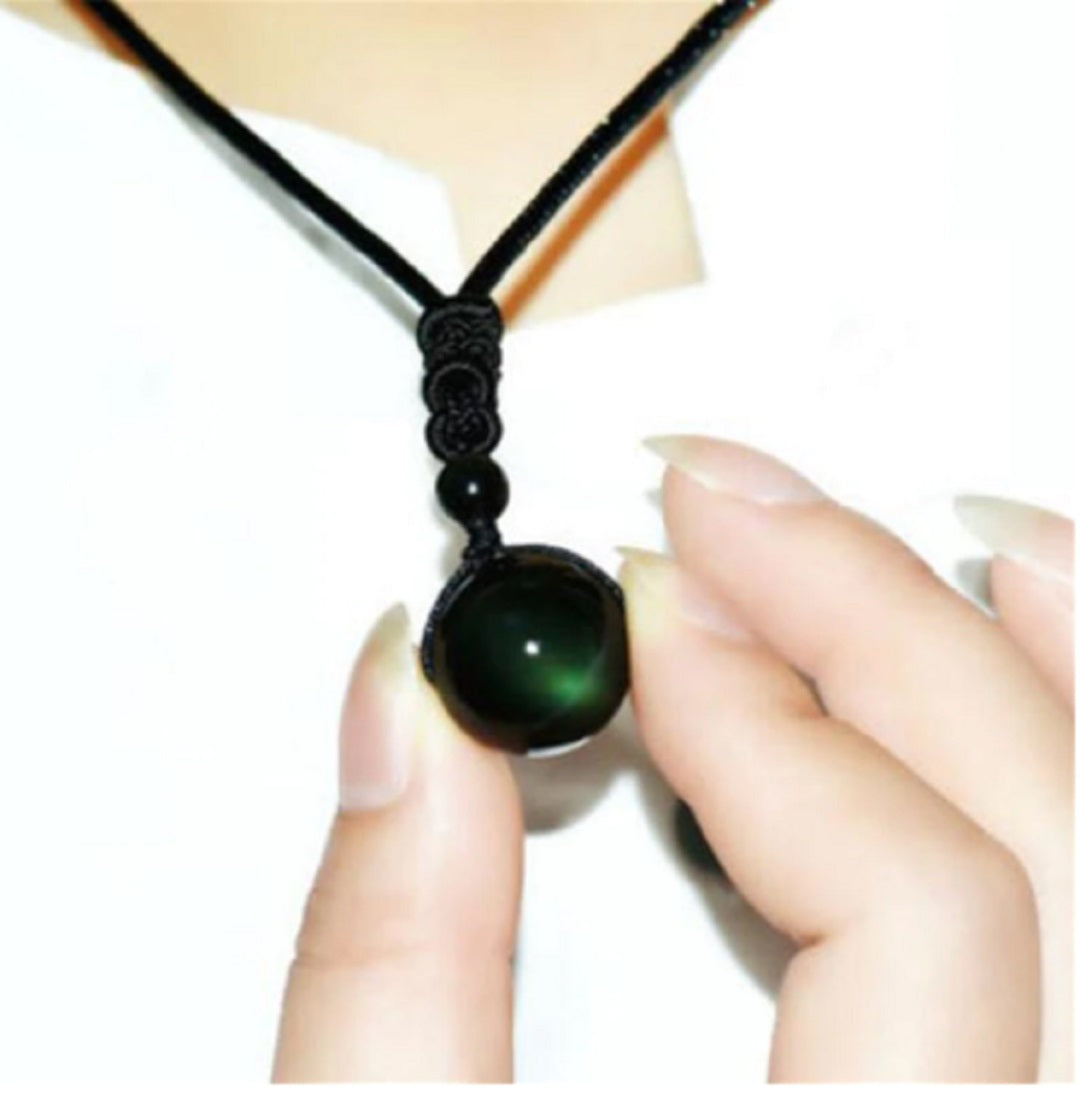 Natural Stone Black Obsidian Rainbow Necklace