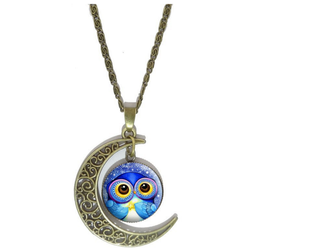 Free Moon Owl Pendant Necklace-Necklace-Kirijewels.com-Blue 1-Kirijewels.com