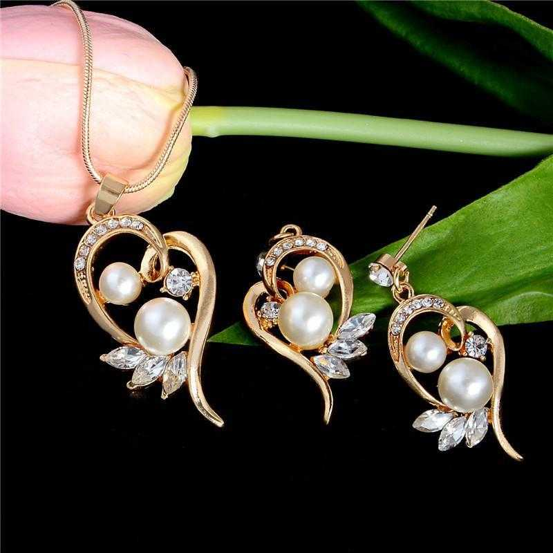 Elegant Gold Plated Zircon Heart Simulated Pearl Jewelry Set-Jewelry Set-Kirijewels.com-Gold-Kirijewels.com