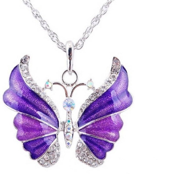Antique Silver plated Enamel Butterfly Pendant Necklace