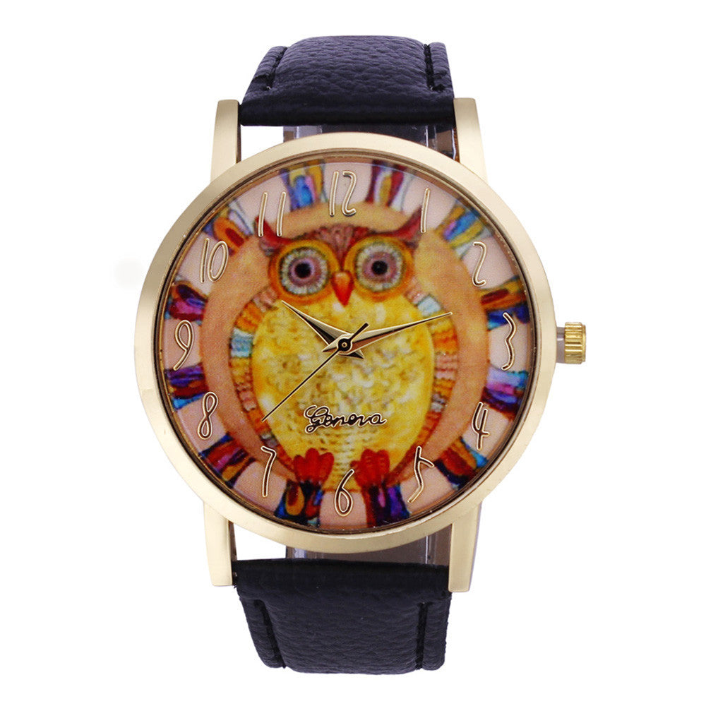 Leather Owl Wrist Watch-Women's Watches-Kirijewels.com-Black-Kirijewels.com
