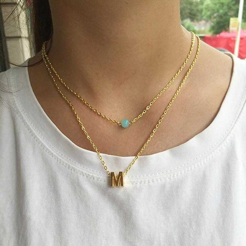 Heart-Shaped Initial Choker Pendant Necklace-Pendant Necklaces-Kirijewels.com-E-Gold Plated-Kirijewels.com