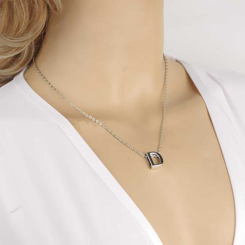 Heart-Shaped Initial Choker Pendant Necklace-Pendant Necklaces-Kirijewels.com-E-Silver Plated-Kirijewels.com