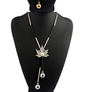 Free Maple Leaf Long Chain Necklace-Chain Necklaces-Kirijewels.com-Silver Plated-Clear-Kirijewels.com