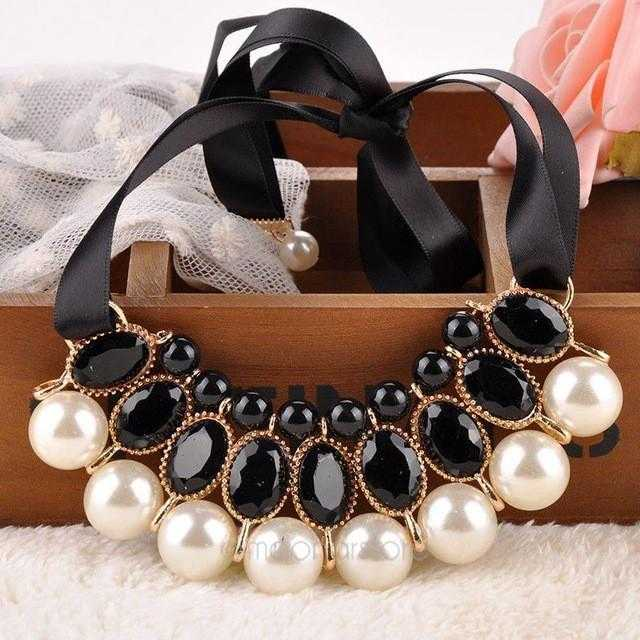 Free Simulated Pearl Necklace-Necklace-Kirijewels.com-Black-Kirijewels.com