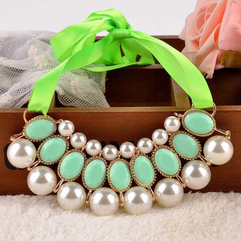 Free Simulated Pearl Necklace-Necklace-Kirijewels.com-Light Green-Kirijewels.com