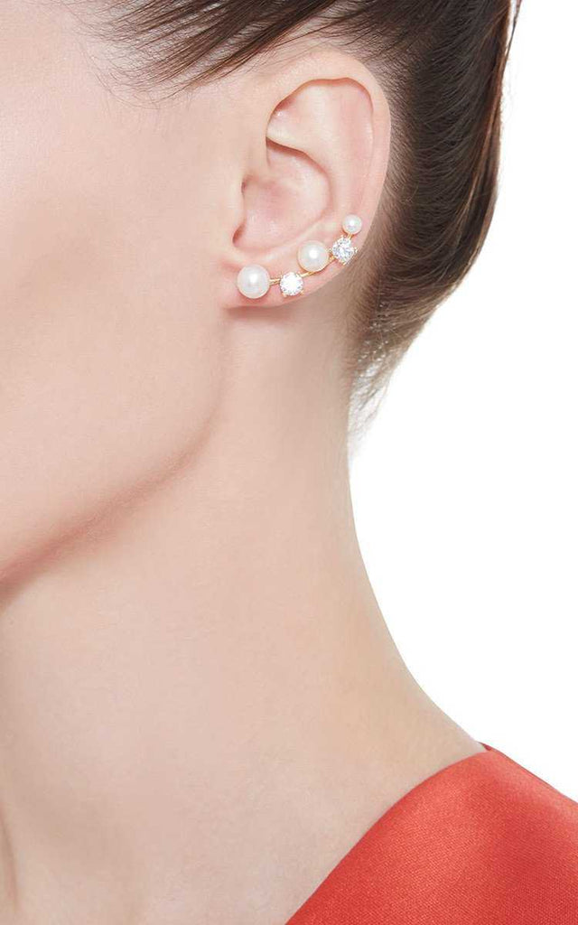 Free Sterling Silver Simulated Pearl Earrings-earrings-Kirijewels.com-Platinum Plated-Kirijewels.com