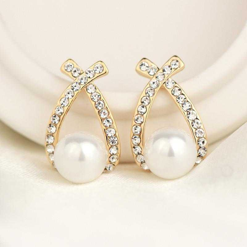 Free New Elegant Crystal Stud Pearl Earrings-earrings-Kirijewels.com-Gold-Kirijewels.com
