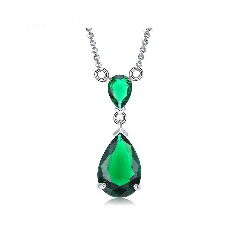Double Teardrop Diamond Necklace-Necklace-Kirijewels.com-Green-Kirijewels.com