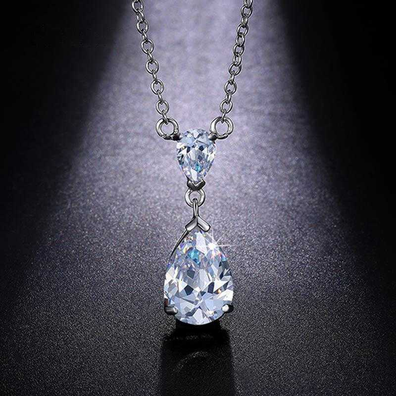 Free Double Teardrop Diamond Necklace-Necklace-Kirijewels.com-White-Kirijewels.com