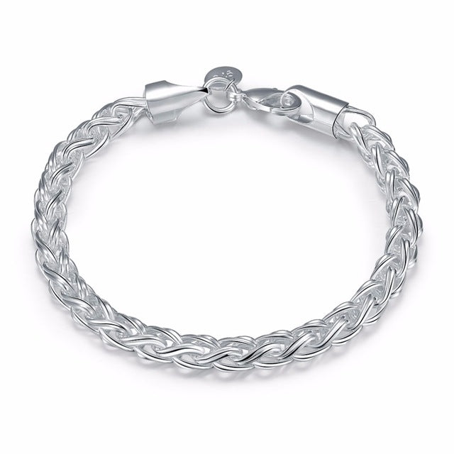 Sterling Silver Thick Twisted Bangle Cuff Bracelet-Chain & Link Bracelets-Kirijewels.com-4MM width-Kirijewels.com