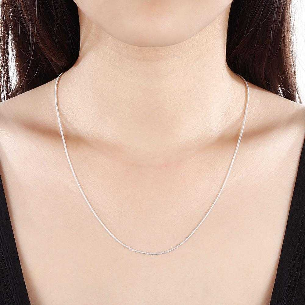 Free Sterling Silver Unisex Thin Snake Chain Necklace-Necklace-Kirijewels.com-16 inch-Kirijewels.com