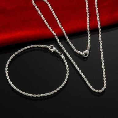 Free Sterling Silver Classic Rope Chain Necklace-Necklace-Kirijewels.com-16 inch-Kirijewels.com
