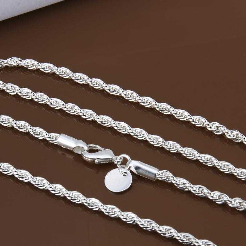 Sterling Silver Classic Rope Chain Necklace/2-Necklace-Kirijewels.com-16inch-Kirijewels.com