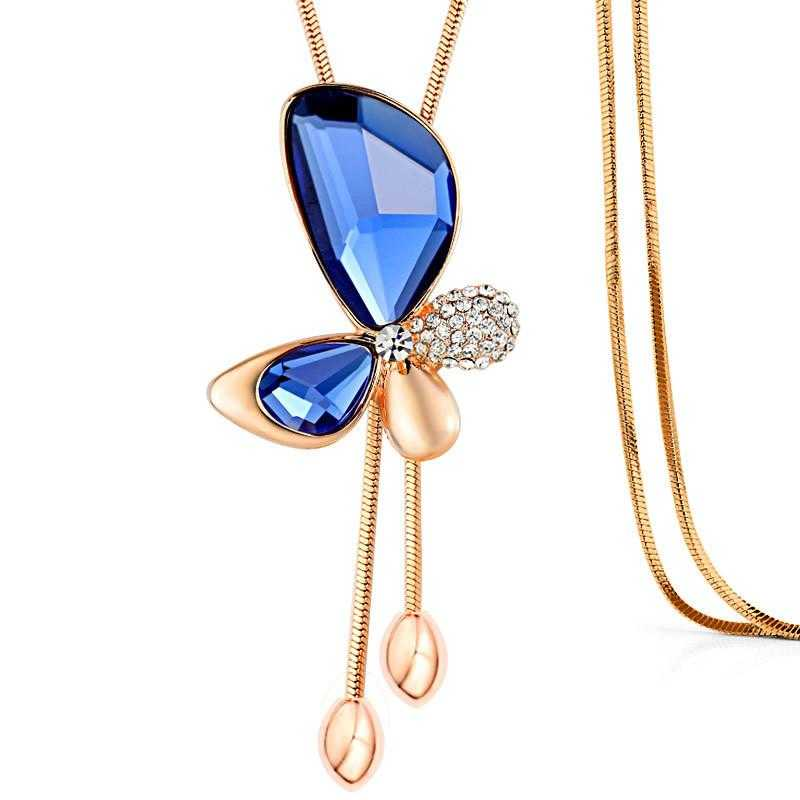 Free Fine Trendy Butterfly Long Necklace-Pendant Necklaces-Kirijewels.com-Blue-Kirijewels.com