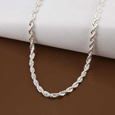 Free Sterling Silver Twisted Chain Necklace-Necklace-Kirijewels.com-1mm 16inchs 40cm-silver-Kirijewels.com