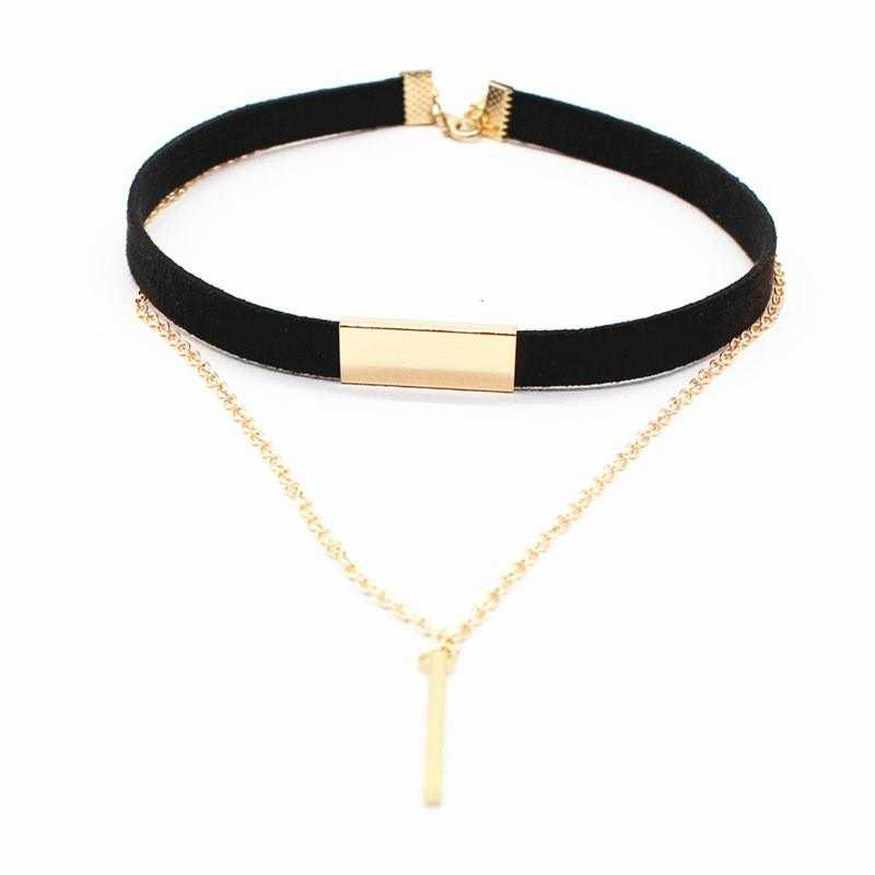 Free Copper Alloy Velvet Choker Necklace-Chain Necklaces-Kirijewels.com-Black-Kirijewels.com