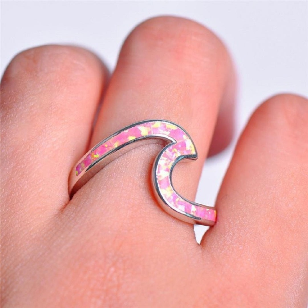 Sterling Silver Exquisite White Fire Opal Wave Ring