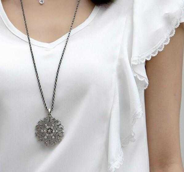 Free Flower Crystal Long Chain Necklace-Chain Necklaces-Kirijewels.com-Silver 1-Kirijewels.com