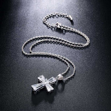 New Elegant Cubic Zircon Cross Necklace/2-Necklace-Kirijewels.com-Platinum Plated-Kirijewels.com