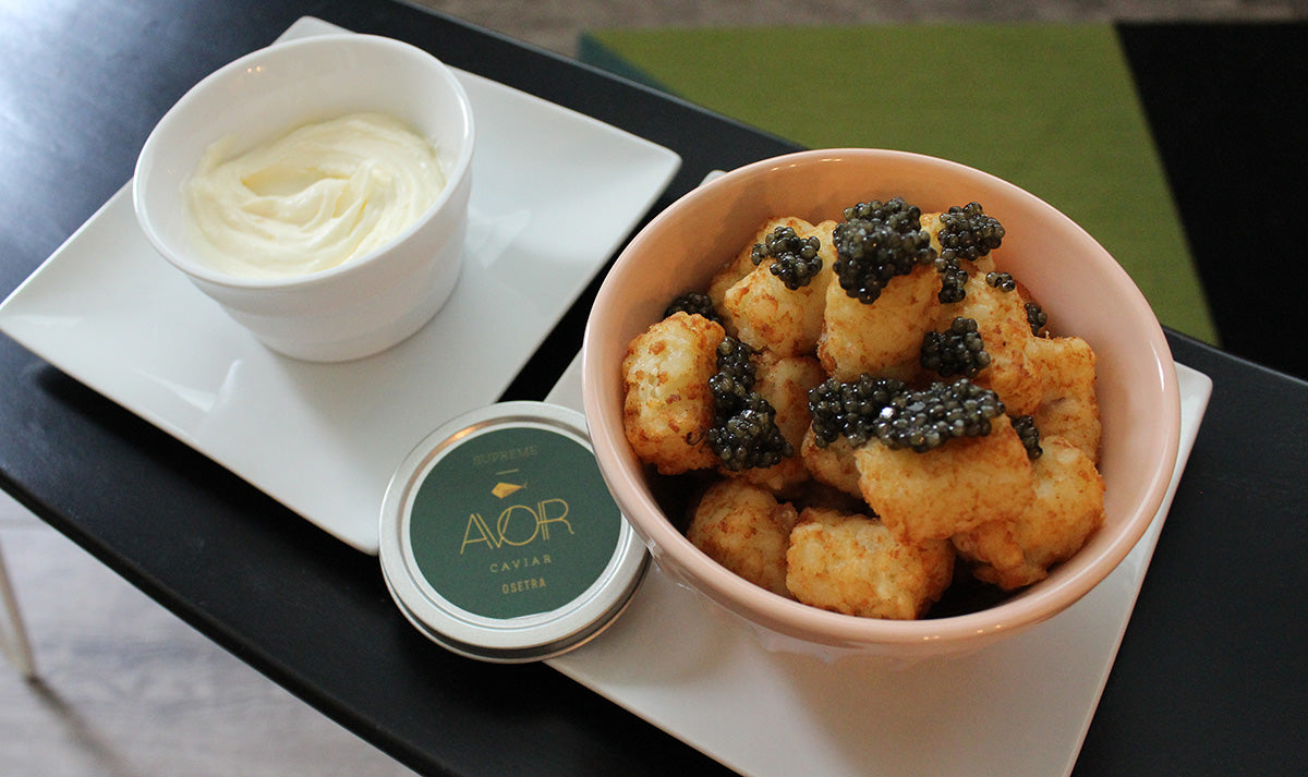 Tater Tots topped with Avoir Caviar