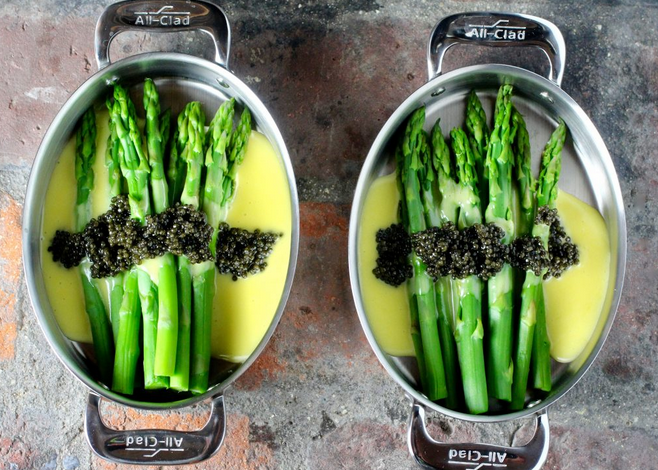 Baby Asparagus with Hollandaise Sauce topped with Bowfin Caviar
