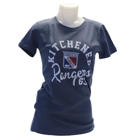 WH W Navy Heather Tee - Rangers Authentics