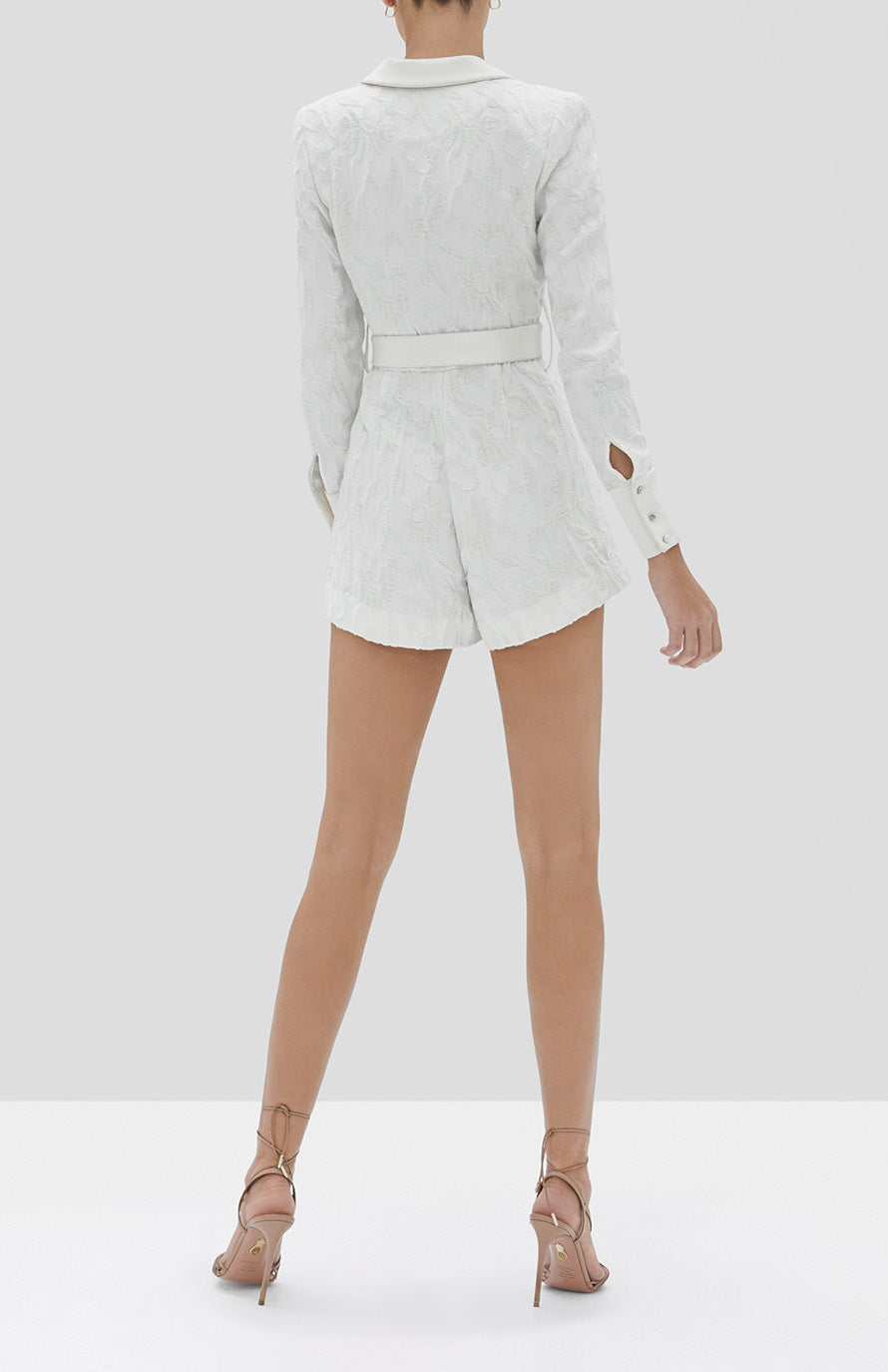 Alexis Ashling Romper in White Floral Jacquard from the Fall Winter 2019 Ready To Wear Collection - Rear View