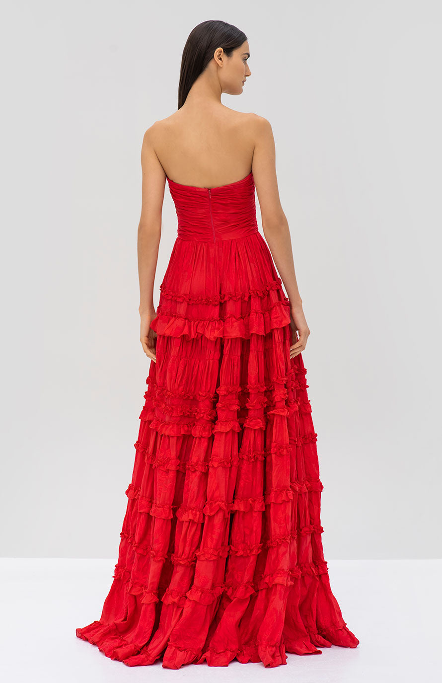 Alexis Allora Gown in Red Azalea from the Pre Fall 2019 Ready To Wear Collection - Rear View