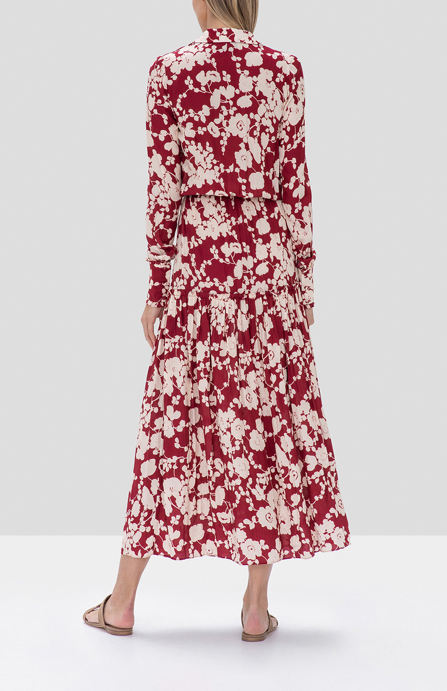 Alexis Ambrosia Dress in Maroon Poppy from the Fall Winter 2019 Ready To Wear Collection - Rear View