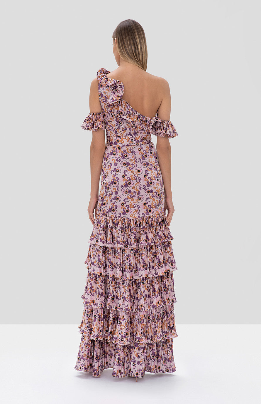Alexis Amonda Dress in Lilac Beaded Floral - Rear View