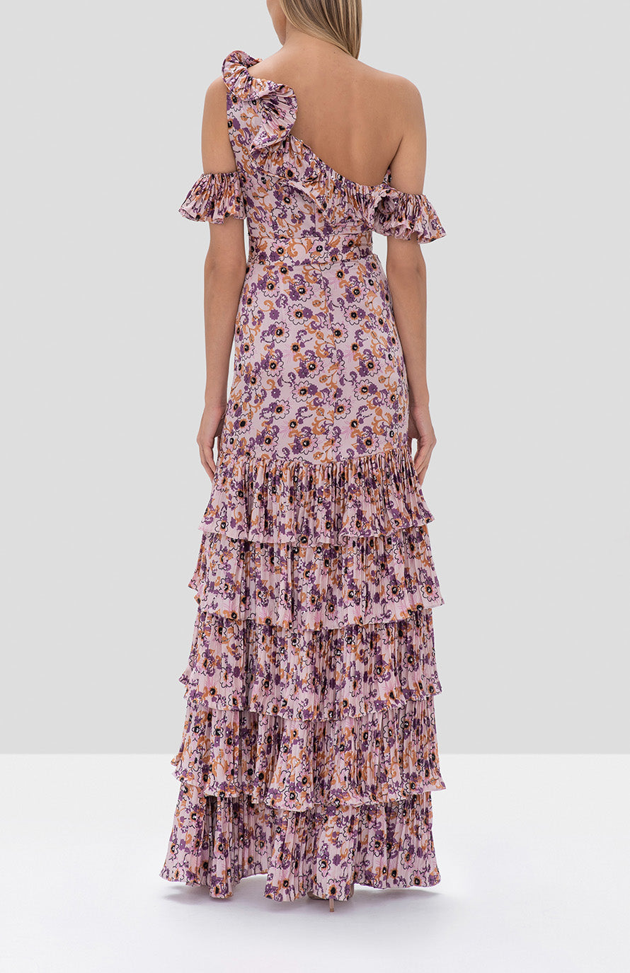 Alexis Amonda Dress Lilac Beaded Floral from the Fall Winter 2019 Ready To Wear Collection - Rear View
