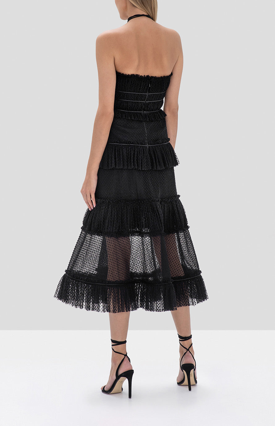 Alexis Angelia Dress in Black from the Fall Winter 2019 Ready To Wear Collection - Rear View