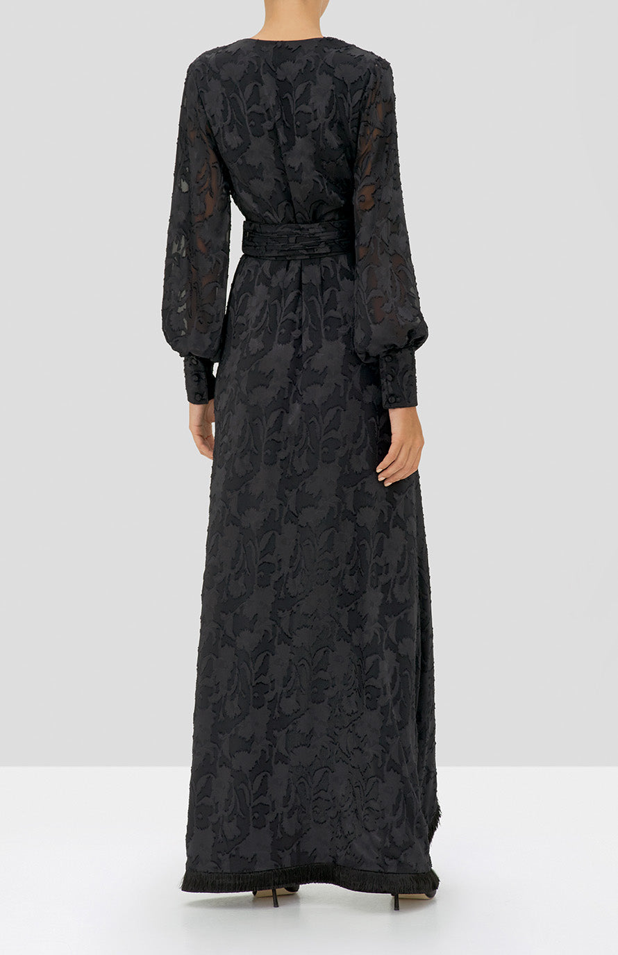 Alexis Antonella Dress in Black Floral from the Holiday 2019 Ready To Wear Collection - Rear View