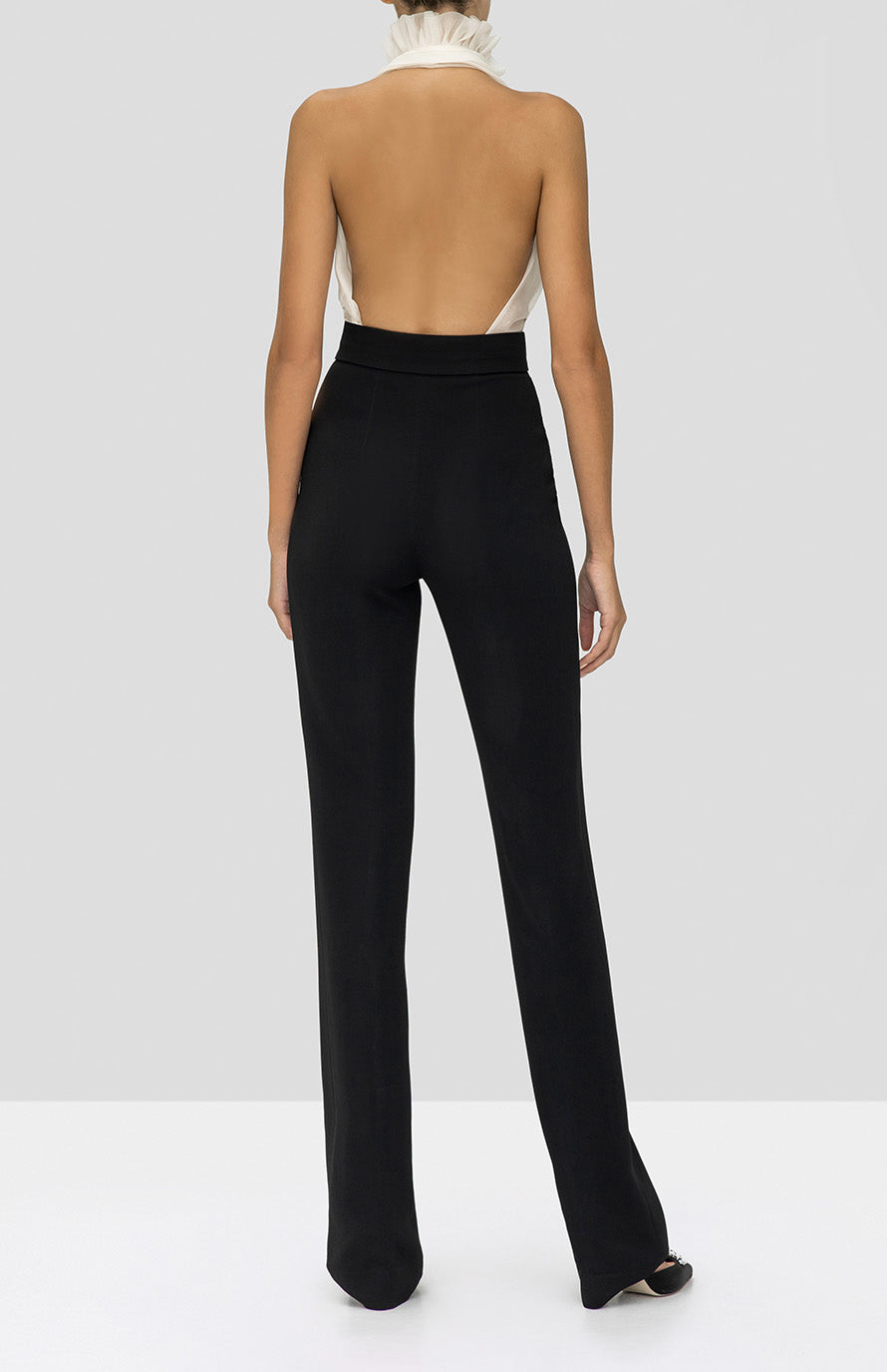 Alexis Arabel Top in Off White and Lofton Pant in Black from the Holiday 2019 Ready To Wear Collection - Rear View