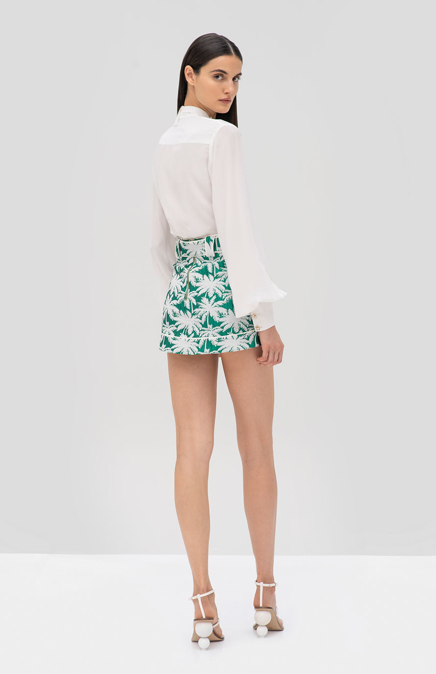 Alexis Aruca Top White and Lodi Skirt Green Palm - Rear View