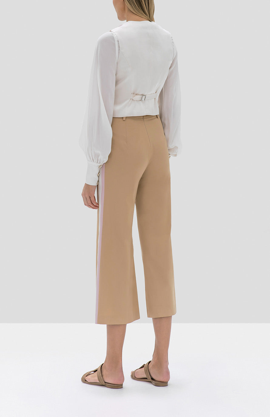 Alexis Aruca Top in White and Lennox Pant in Tan Striped from the Pre Fall 2019 Ready To Wear Collection - Rear View
