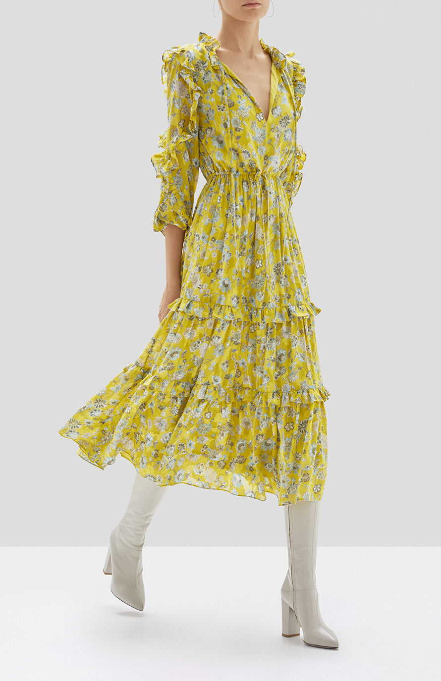 Alexis Auja Dress in Citron Floral from Pre Spring 2020 Collection - Rear View