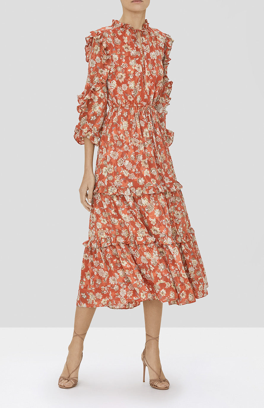 Alexis Auja Dress in Saffron Floral from our Pre-Spring 2020 Ready To Wear Collection - Rear View