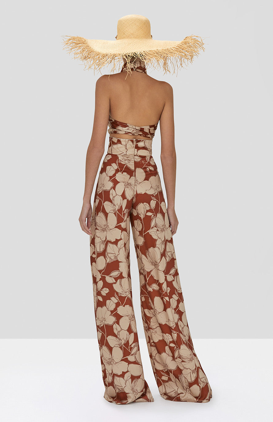Alexis Bala Crop Top and Haruna Pant in Sand Floral from the Spring Summer 2020 Collection - Rear View