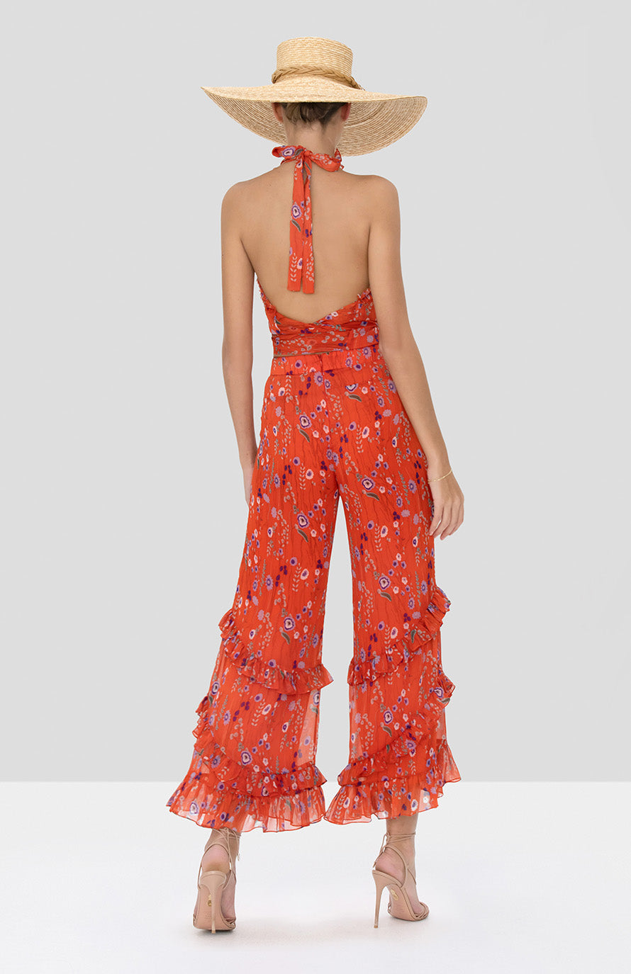 Alexis Balbina Top and Faizel Pant in Red Bouquet from Spring Summer 2020 Collection - Rear View