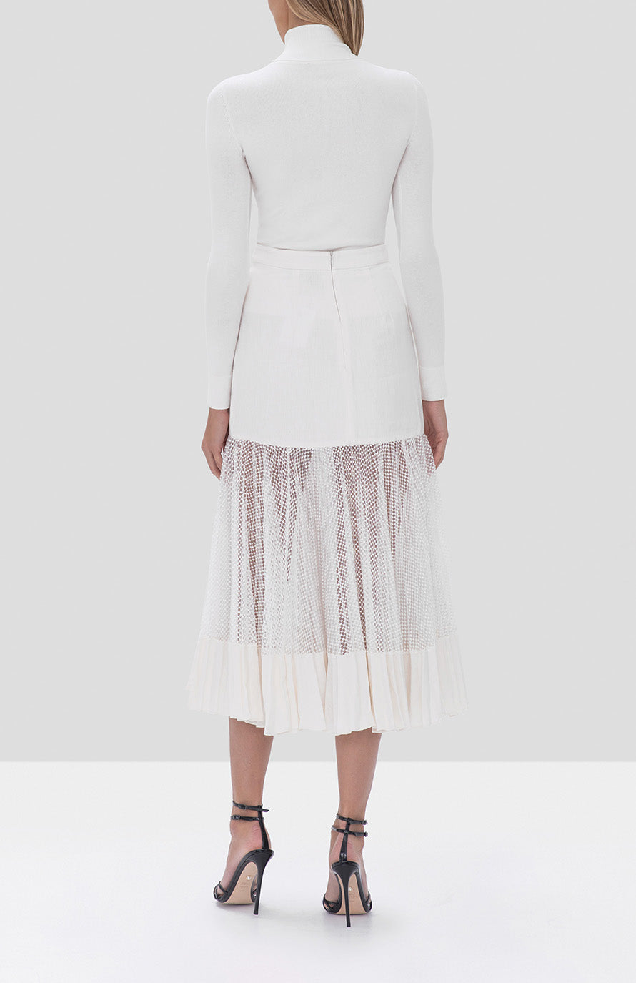 Alexis Bartley Skirt in White and Jaiko Sweater in White from the Fall Winter 2019 Ready To Wear Collection - Rear View