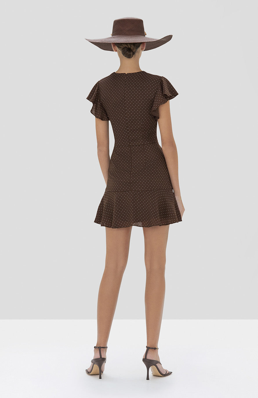 Alexis Benza Dress in Mocha Dot Linen from the Spring Summer 2020 Collection - Rear View