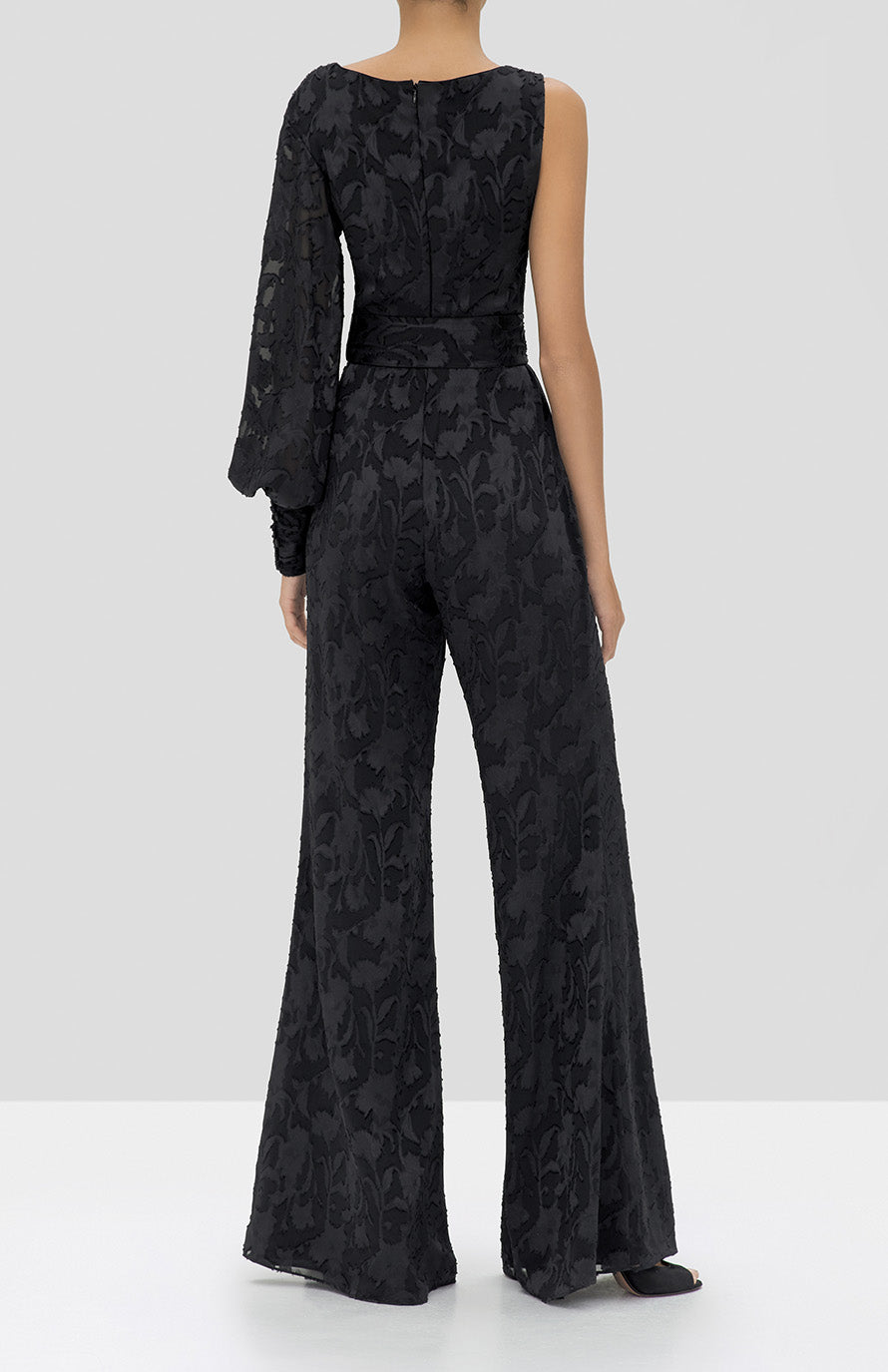 Alexis Berezzi Jumpsuit in Black Floral from the Holiday 2019 Ready To Wear Collection - Rear View