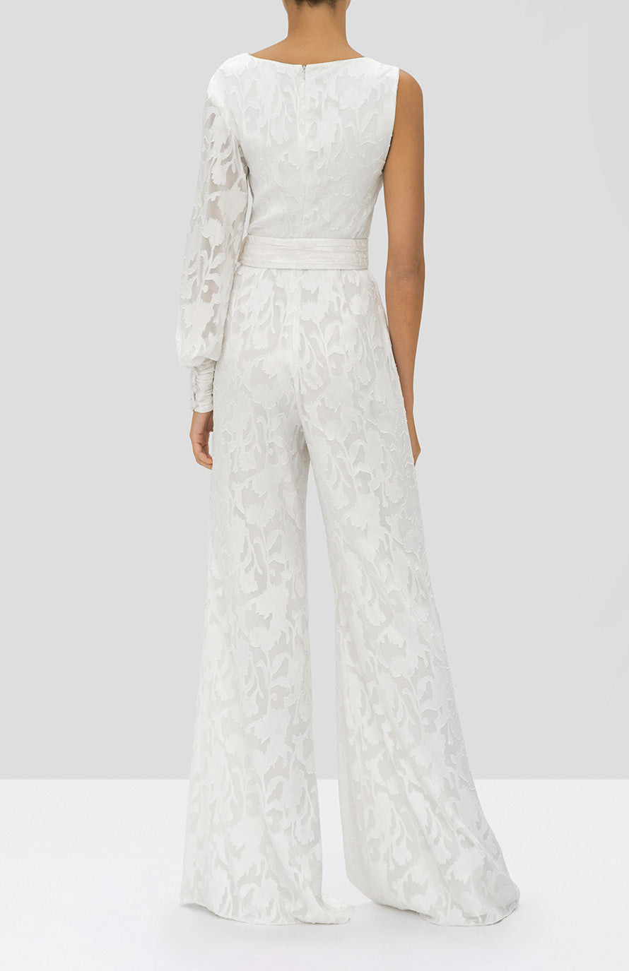 Alexis Berezzi Jumpsuit in Ivory Floral from the Holiday 2019 Ready To Wear Collection - Rear View