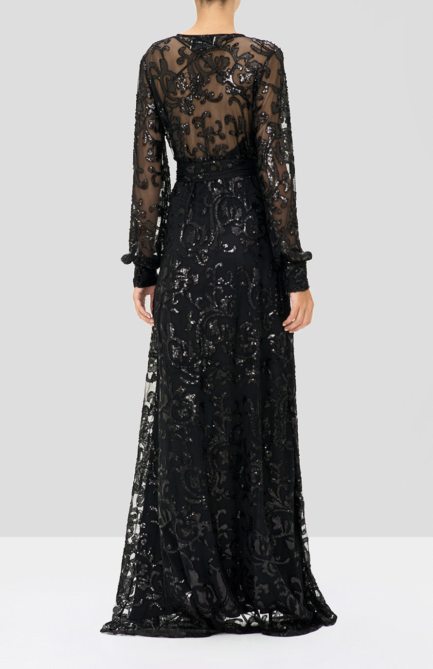 Alexis Biata Dress in Beaded Black from the Holiday 2019 Ready To Wear Collection - Rear View