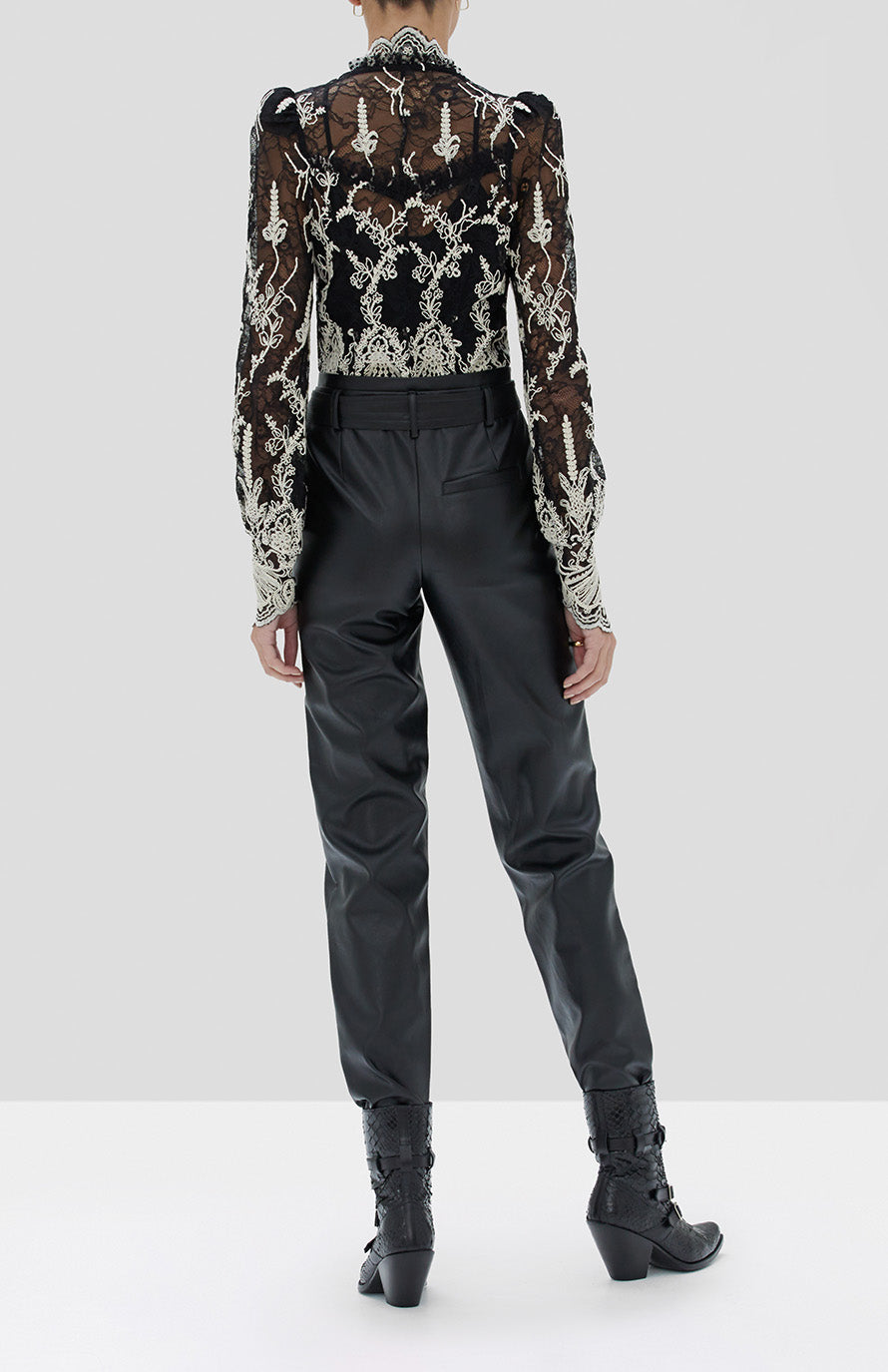 Alexis Boda Top in Black Embroidered Lace and Castile Pant in Black from the Holiday 2019 Ready To Wear Collection - Rear View