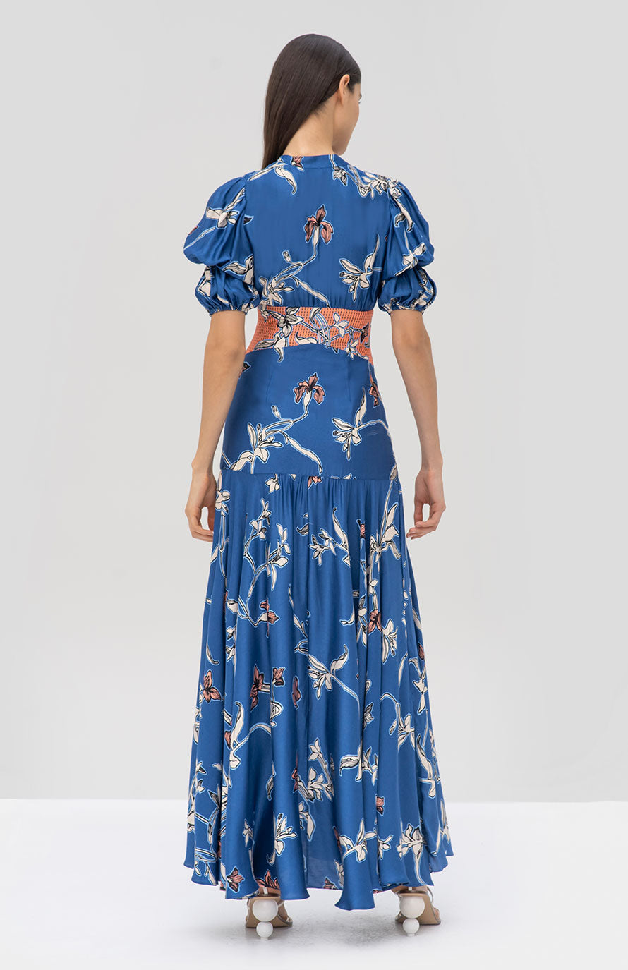 Alexis Bowden Dress in Royal Blue Orchid from the Pre Fall 2019 Ready To Wear Collection - Rear View