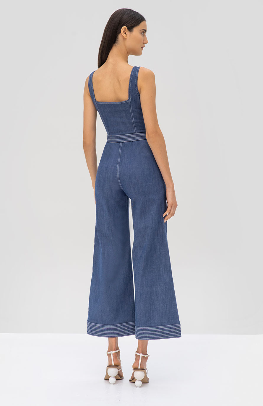 Alexis Bristol Jumpsuit in Stone Blue from the Pre Fall 2019 Ready To Wear Collection - Rear View