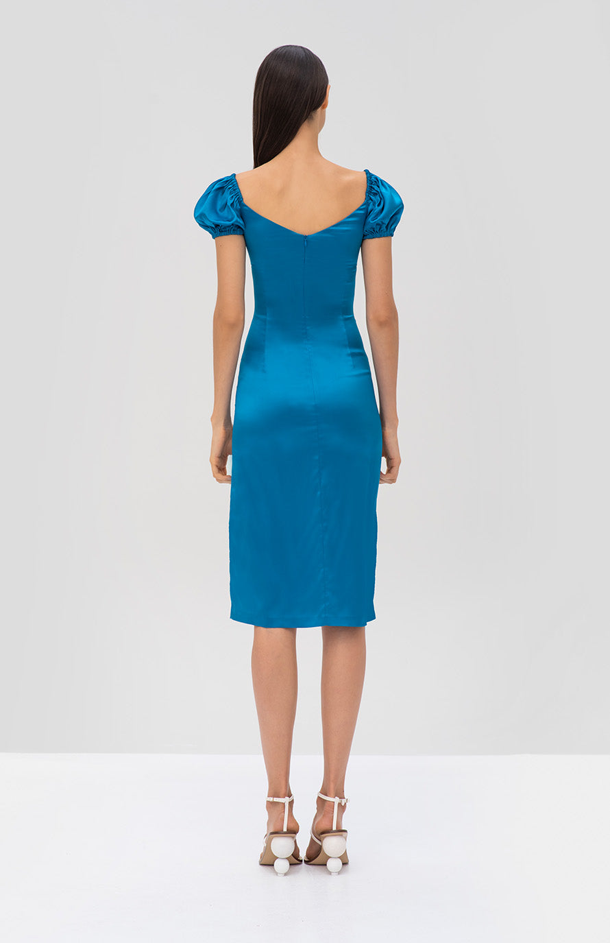 Alexis Cadiz Dress in Capri Blue from the Spring Summer 2019 Ready To Wear Collection - Rear View